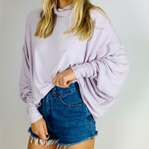WE THE FREE Lavender turtleneck ribbed slouchy top